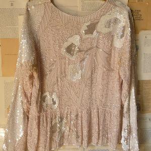 Vintage 80s Beaded Silk Top Sequins Pink S